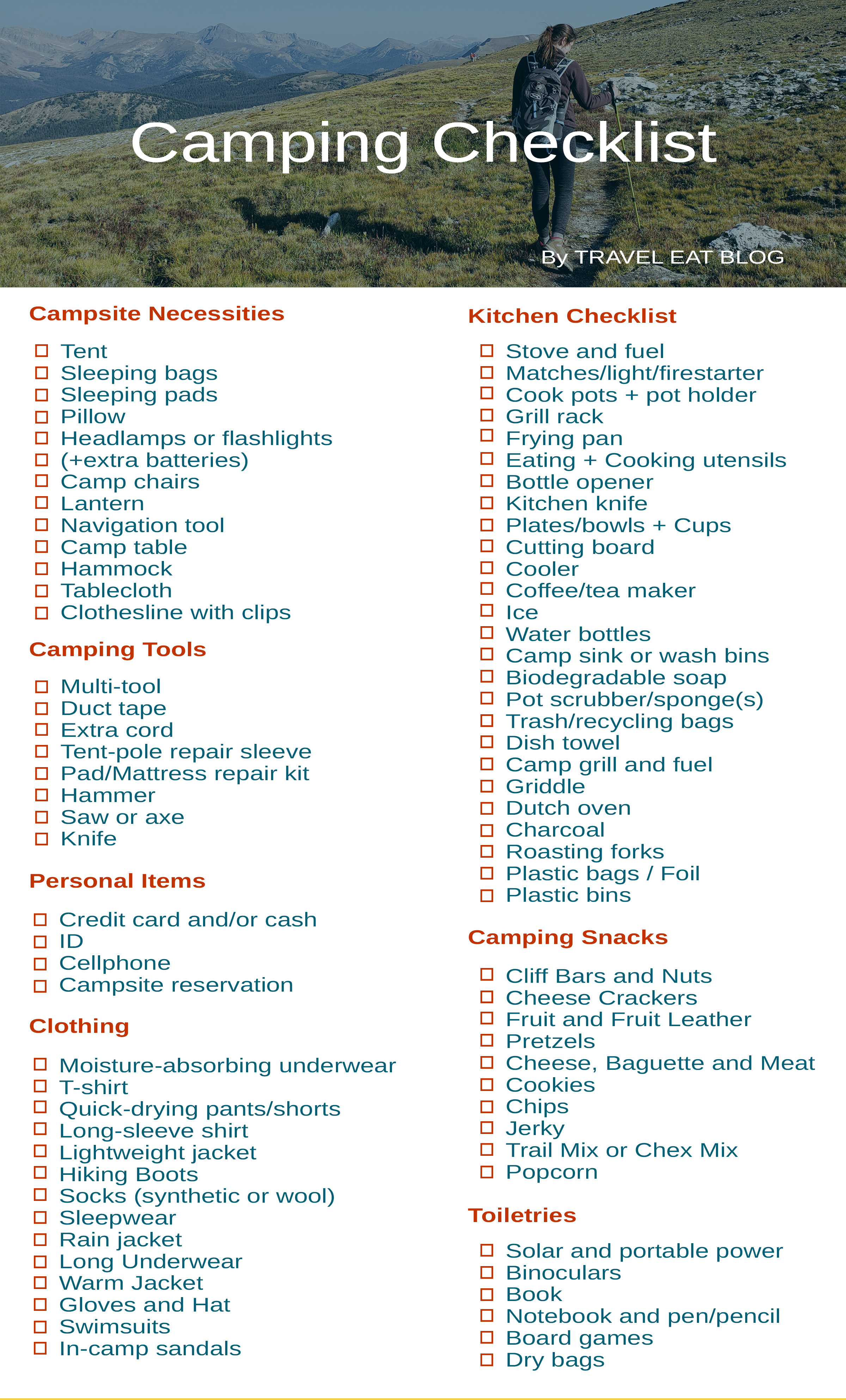 image regarding Printable Camping Checklist named Printable Tenting Record - Packing Checklist - Push Try to eat Web site