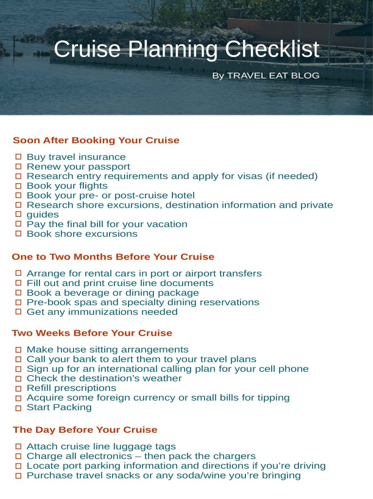 Cruise Planning Checklist by Travel Eat Blog