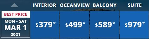 Carnival Stateroom prices a week earlier