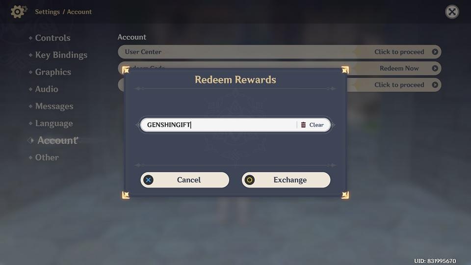 In-Game Redeem Code