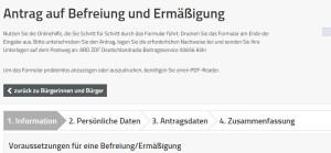 ARD ZDF Antrag auf Befreiung