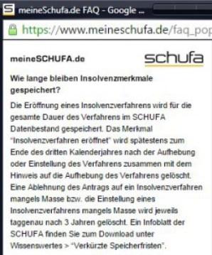 Schufa Auskunft nach Insolvenzverfahren - Schufa FAQ auf meineschufa.de