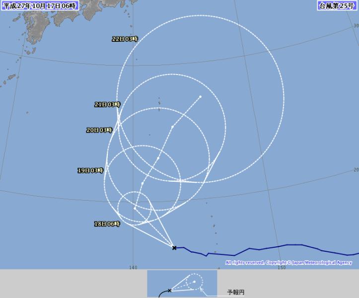 台風25号2015の進路最新情報。米軍・ヨーロッパ・気象庁情報は関東へ!?