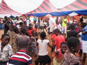Mikkel showing off his moves. Popular guy with the kids in the village
