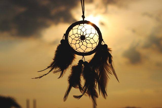 Dream Catcher craft item silhouette in front of sunset