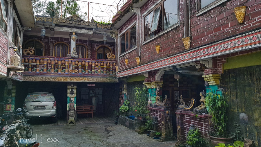 The courtyard of Ratri Guesthouse where the hike to Mt Merapi starts and ends