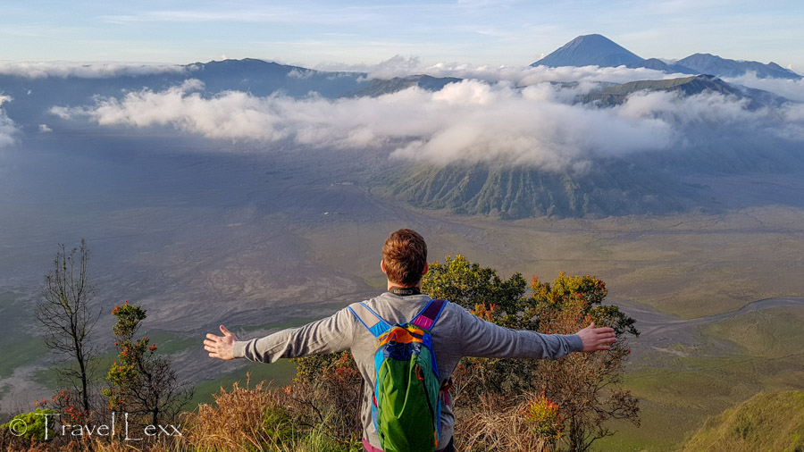 View of Mount Bromo, Mount Batok and Mount Semeru from the King Kong viewpoint