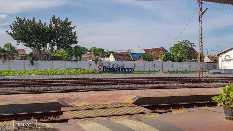 Probolinggo train station platform and sign