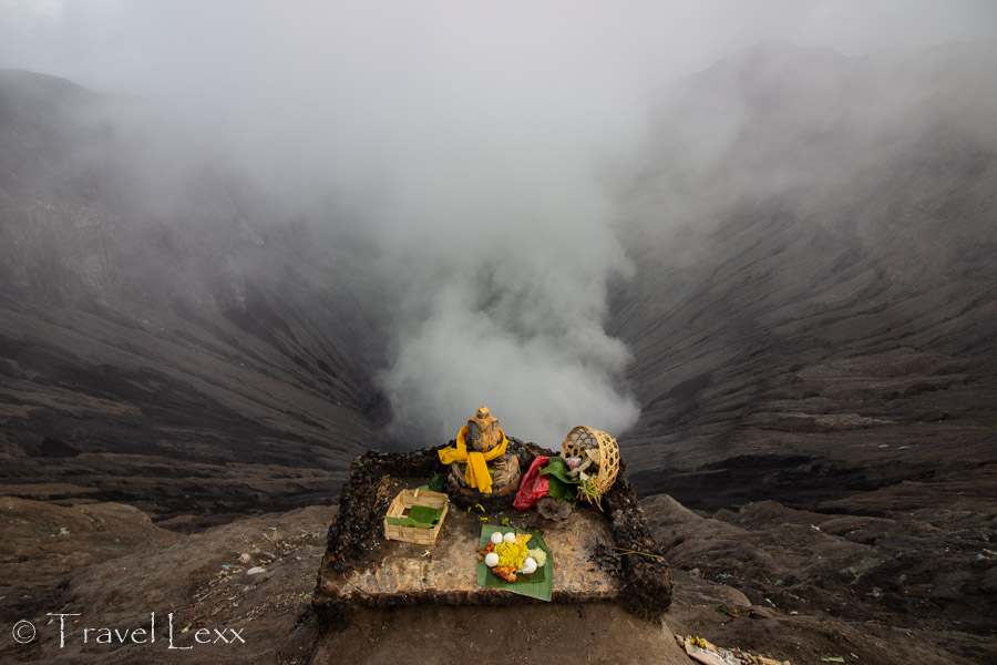 Offerings to Mount Bromo at the crater rim