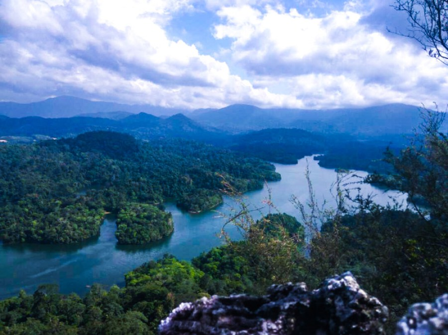 View of lakes and forests from the Bukit Tabur hiking trail near Kuala Lumpur