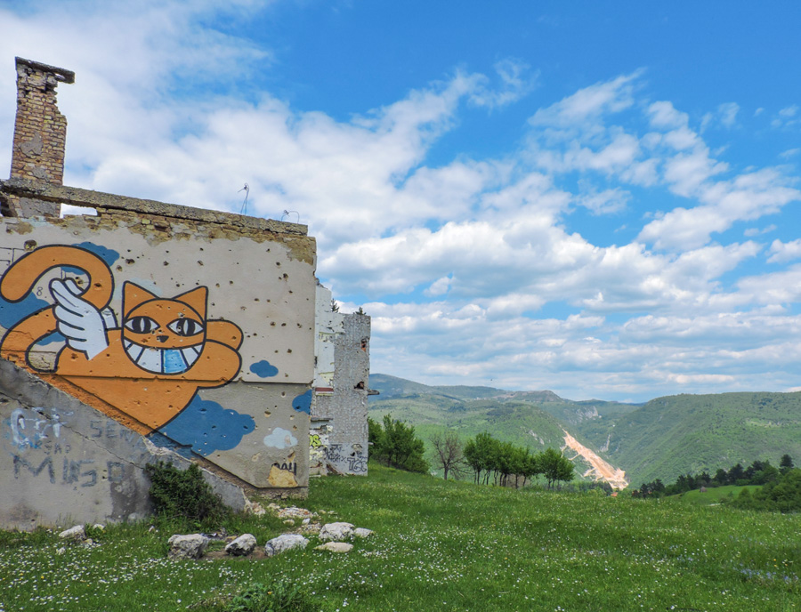 A colourful mural of a cat on an urban hike to Mount Trebevic near the city of Sarajevo, Bosnia and Herzegovina