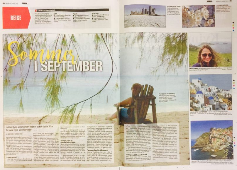 Interviewed in the daily newspaper Dagsavisen about how to stretch summer by traveling abroad