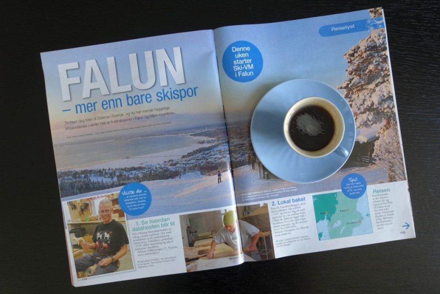 Travel article about Falun, Sweden, in the magazine Norsk Ukeblad. 5 pages.