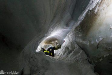 Walking inside a glacier