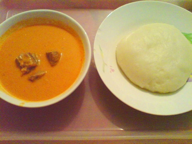 Fufu served with soup