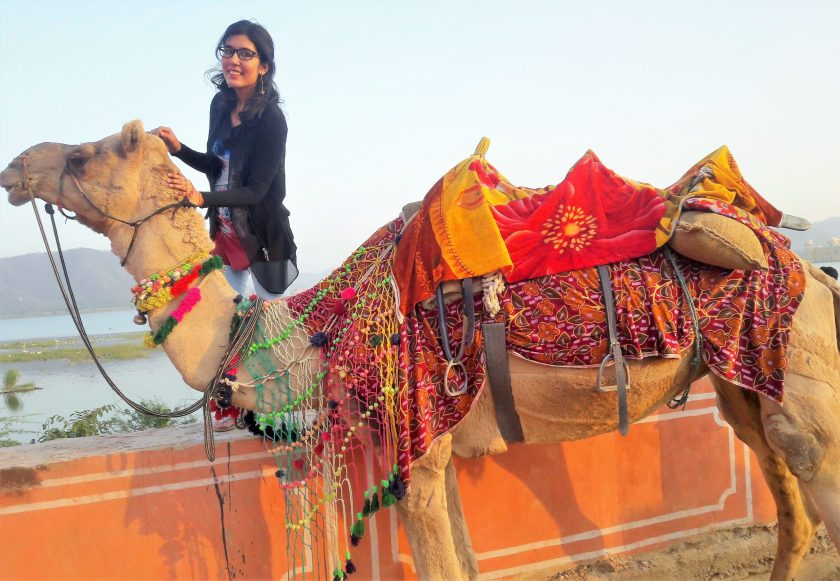 posing with the Camel after the ride near Jal Mahal