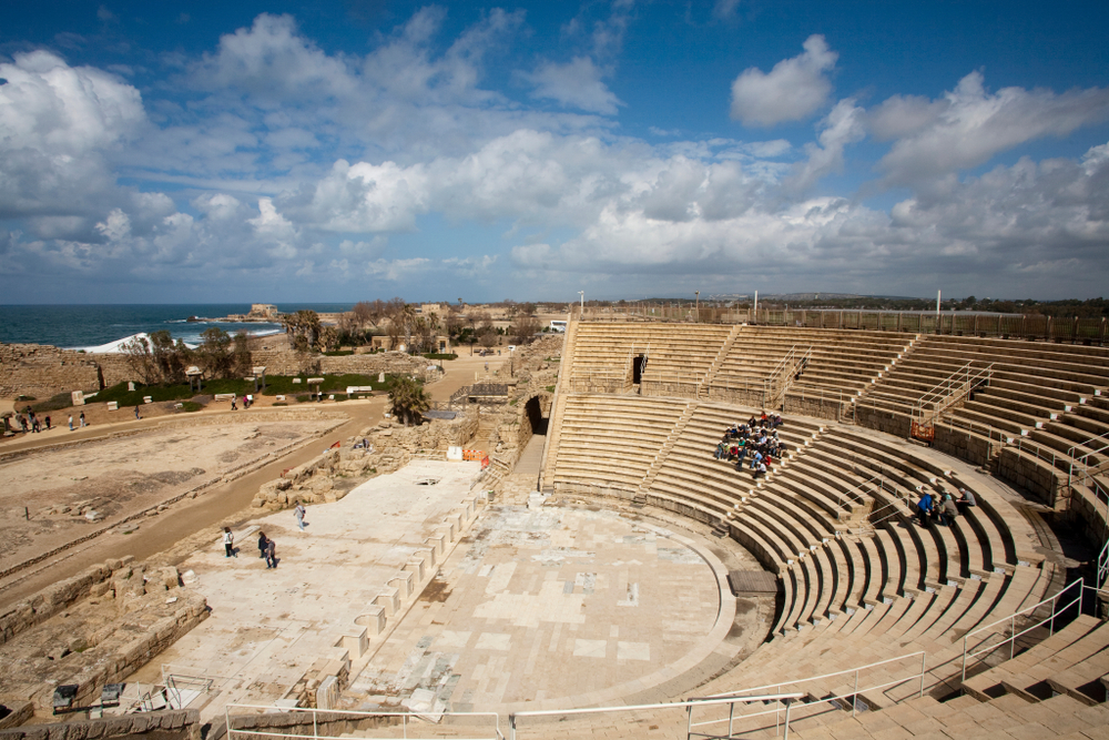The seating area of the Roman Theater in Caesarea is oriented towards the sea.