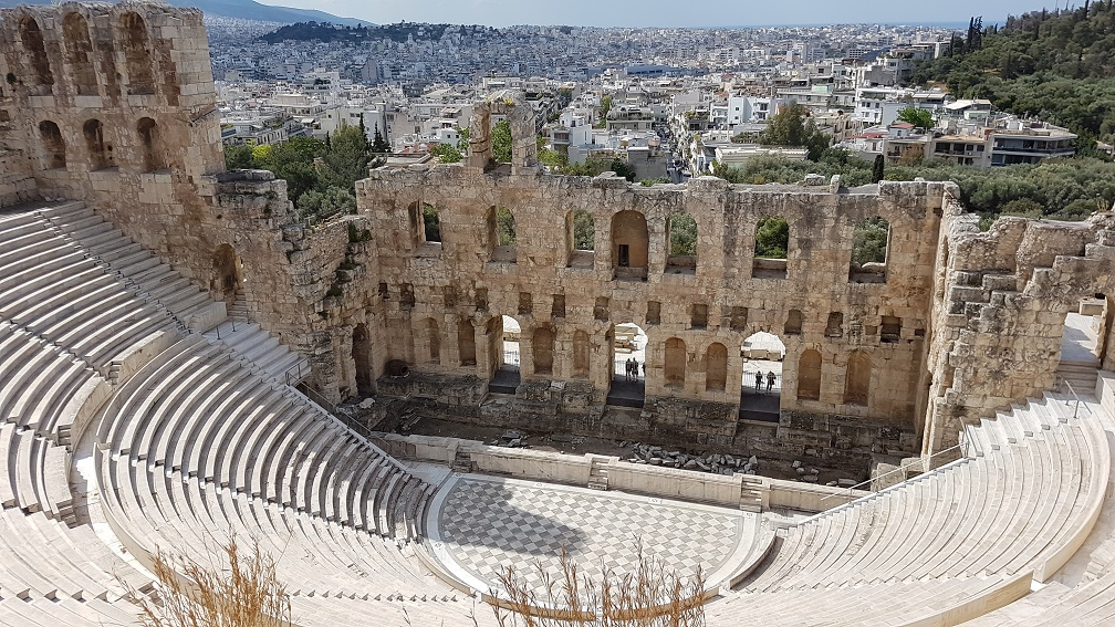 The Odeon of Herodes Atticus in Athens overlooking the city