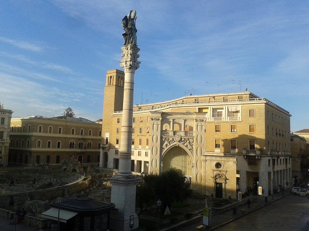 The Roman Amphitheater was only partially uncovered in Lecce's main square.