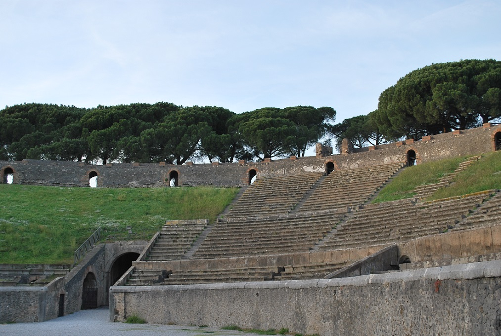The amphitheater in Pompeii is almost intact.