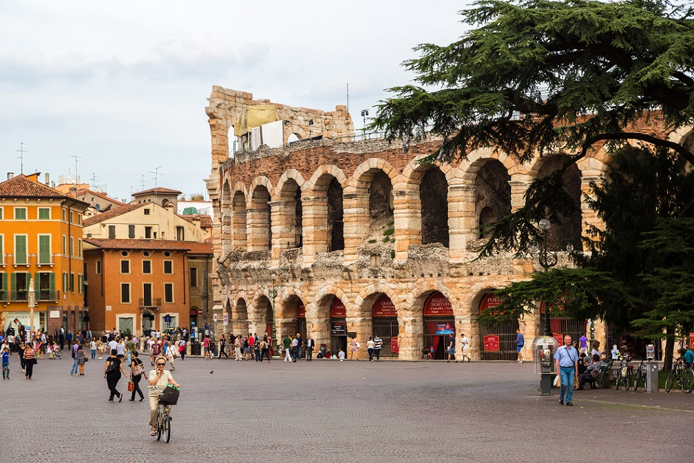 Verona Arena in the busy Bra Square