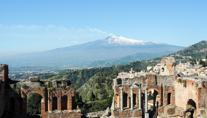 View over Etna from Taormina Ancient Theater