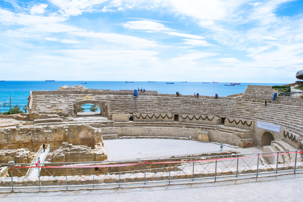 Roman Amphitheater in Tarragona, overlooking the sea
