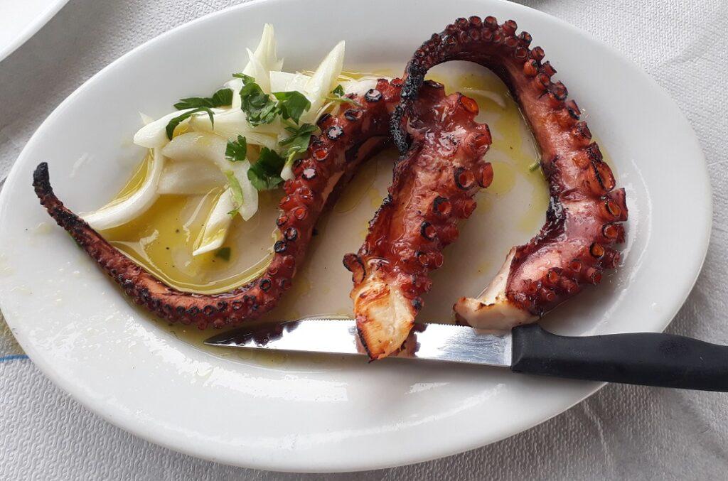 Fried octopus is a must-try in Thessaloniki.