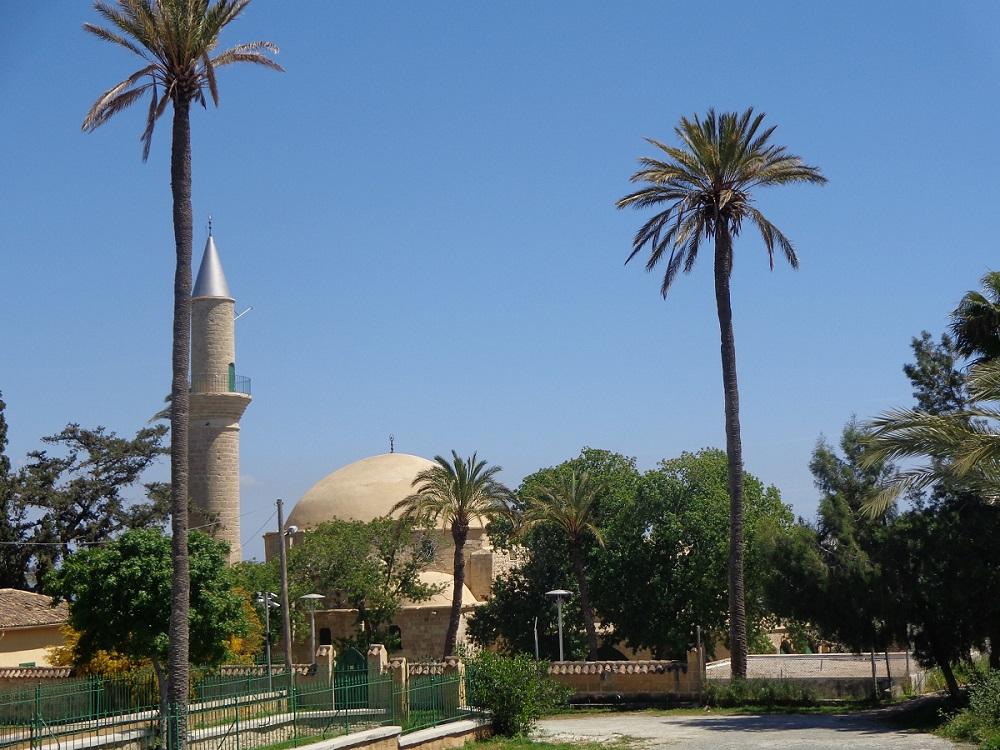 Hala Sultan Tekke and minaret under palm trees.