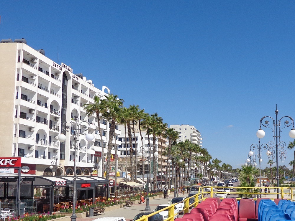 Finikoudes Promenade is lined with palm trees.