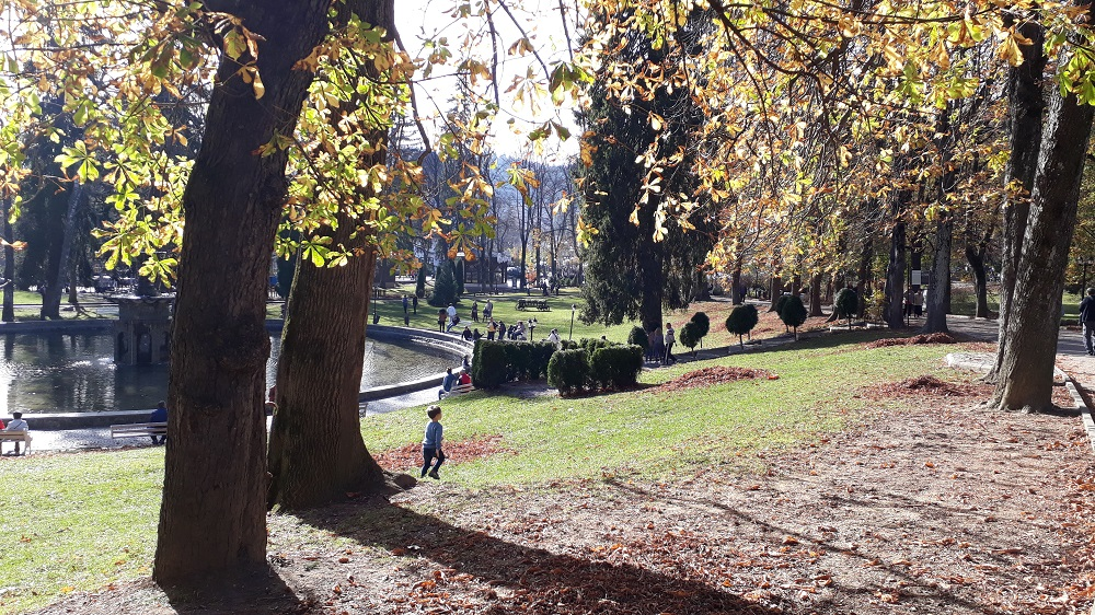 A child running around in the park in Sinaia