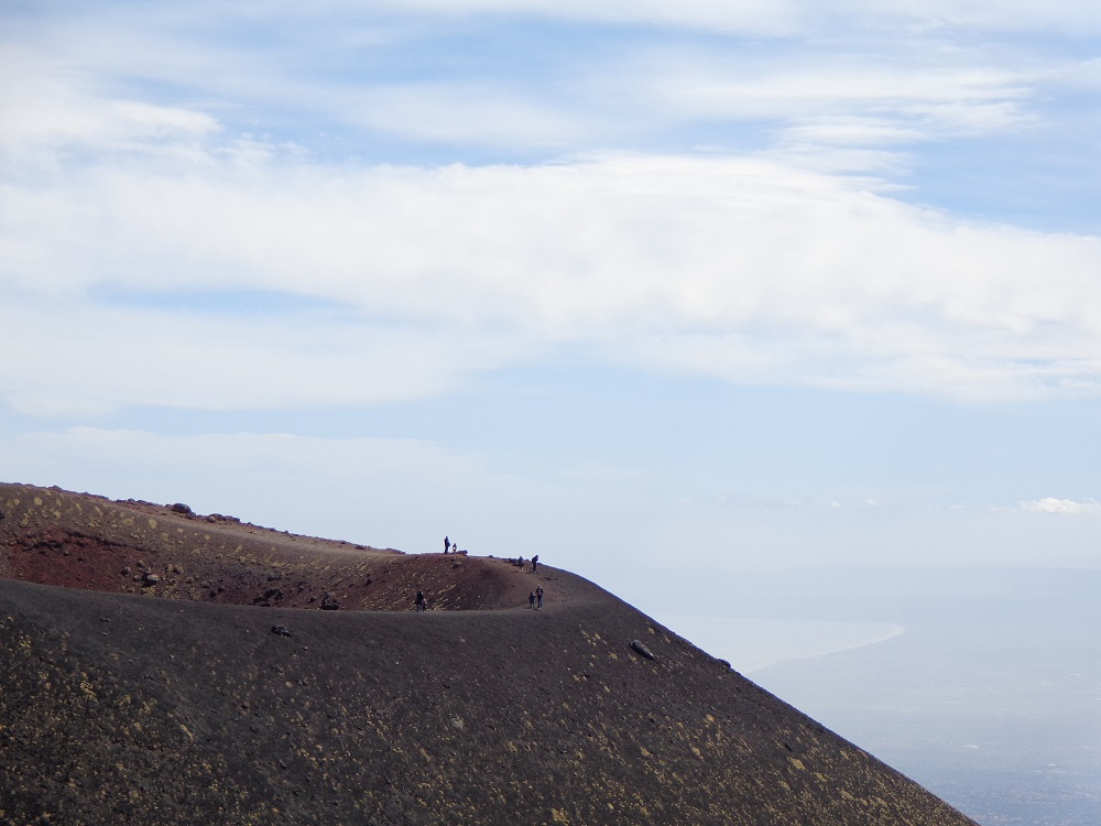 Beautiful view of Sicily and the sea from Mount Etna