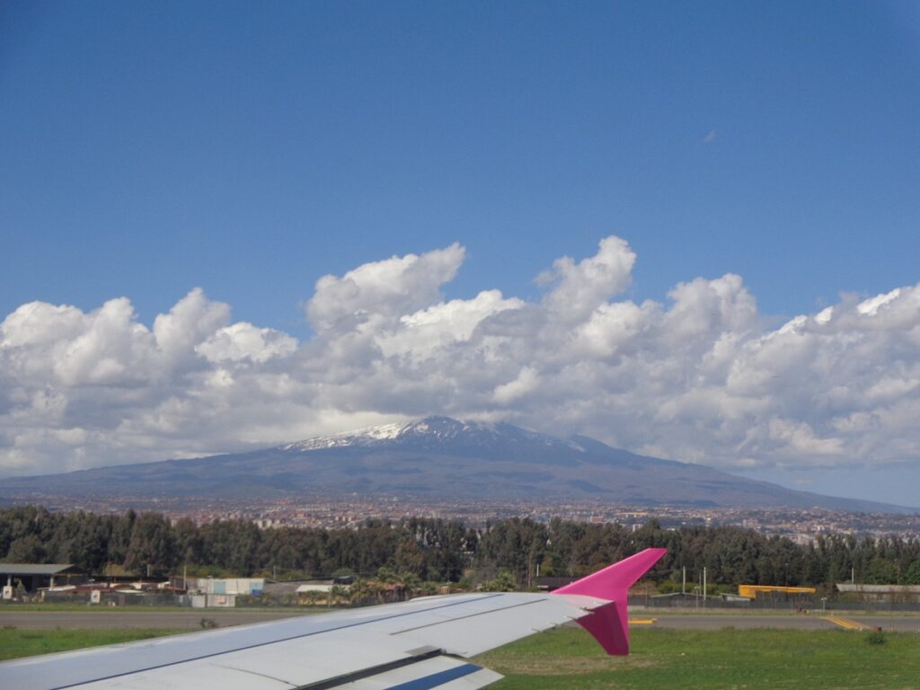 Mount Etna seen from the airport in Catania