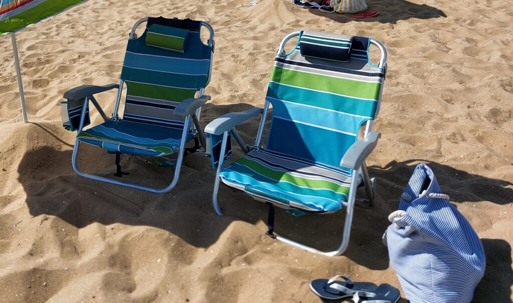 My new beach trip packing list includes two beach chairs.