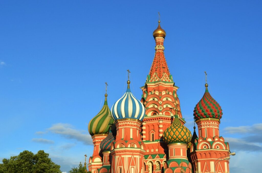 St. Basil's Church and its colorful domes in the Red Square of Moscow.