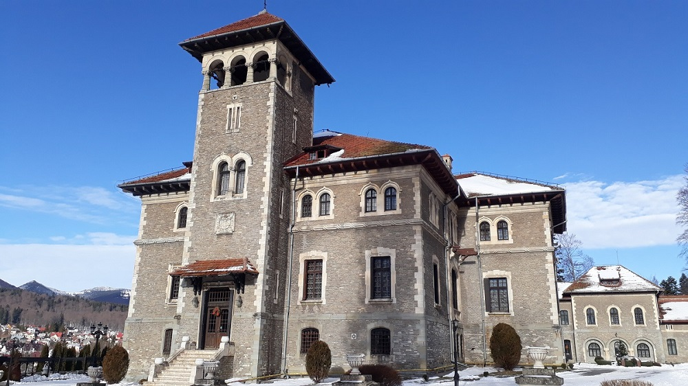 Cantacuzino Castle in Busteni dressed in snow this winter