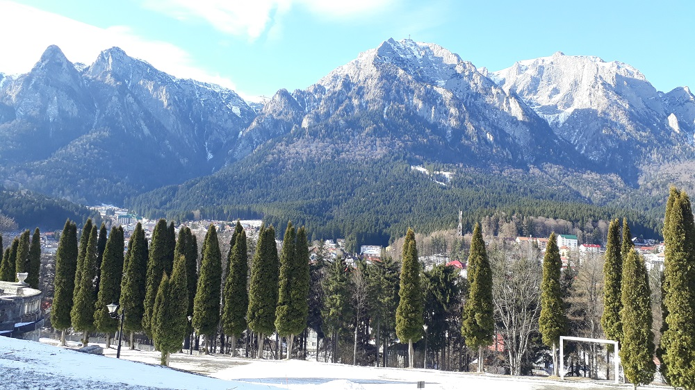 View of the Carpathian Mountains from Cantacuzino Castle's front terrace.