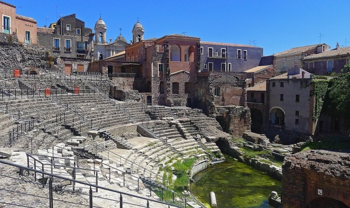 The Roman Theater in Catania, evidence of the imperial era in Sicily.