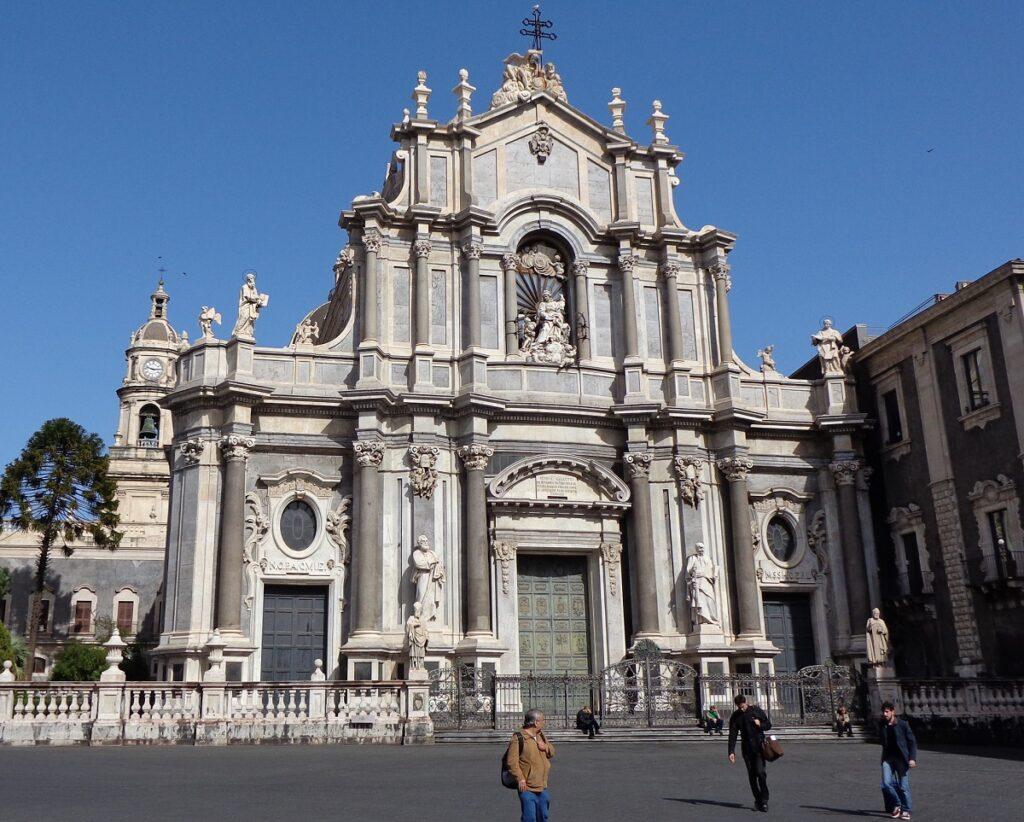 The Baroque façade of Sant'Agata Cathedral in Piazza del Duomo of Catania.