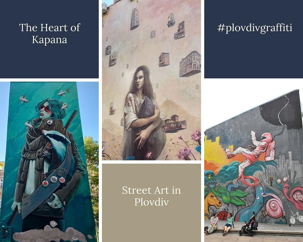 Vibrant street art in the heart of Kapana in in Plovdiv