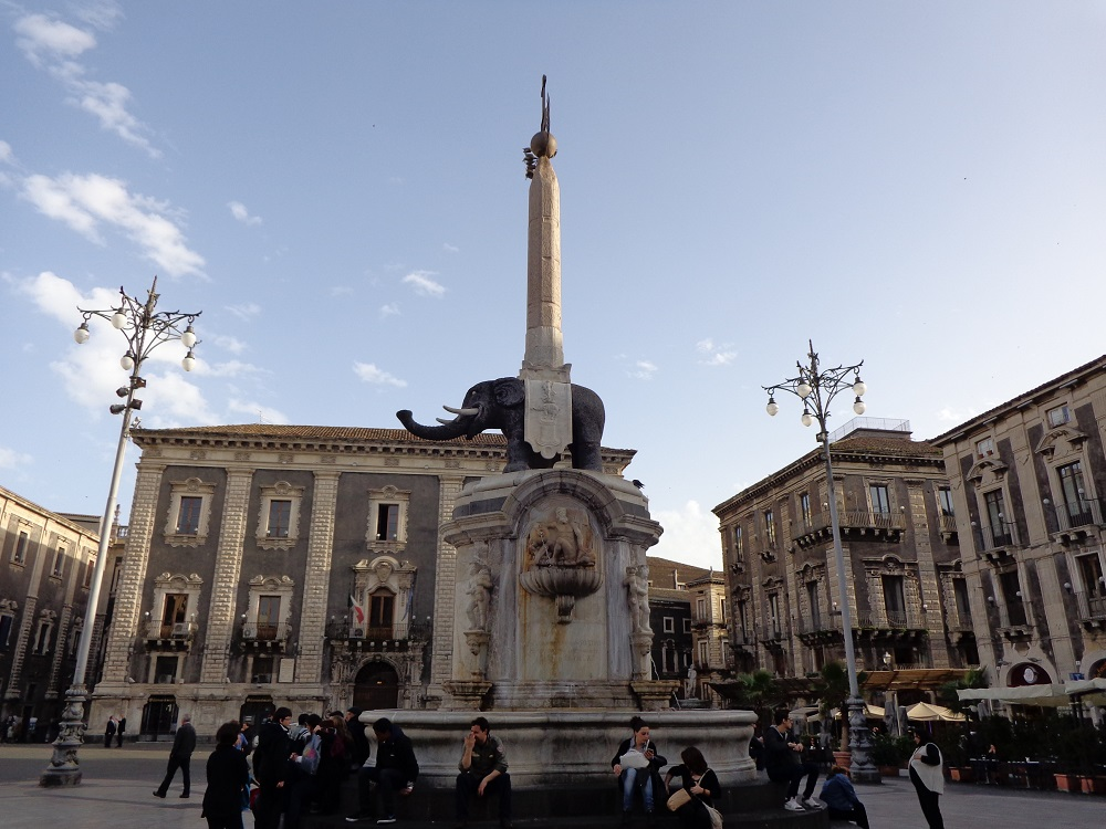 Piazza del Duomo in Catania with the Fountain of the Elephant at the center is one of the most popular things to do in Catania.