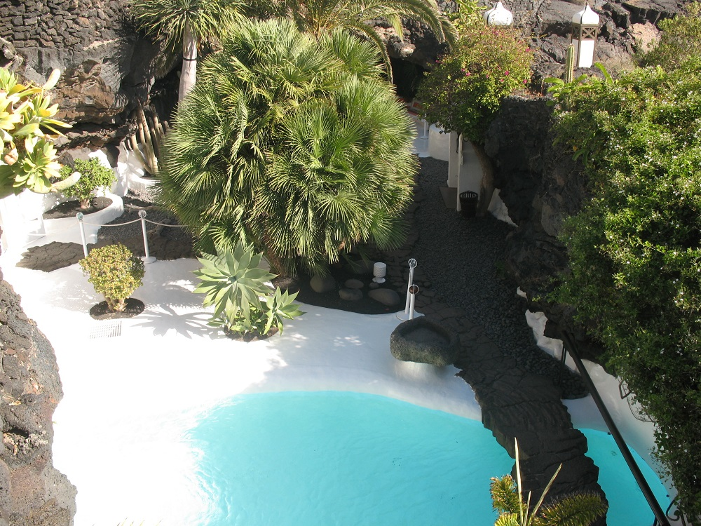 The underground garden and pool of Cesar Manrique's house, now foundation headquarters.
