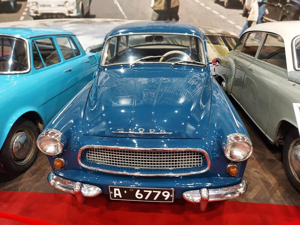 A vintage blue Skoda in the Cars of Socialism Museum in Peshtera, Bulgaria.