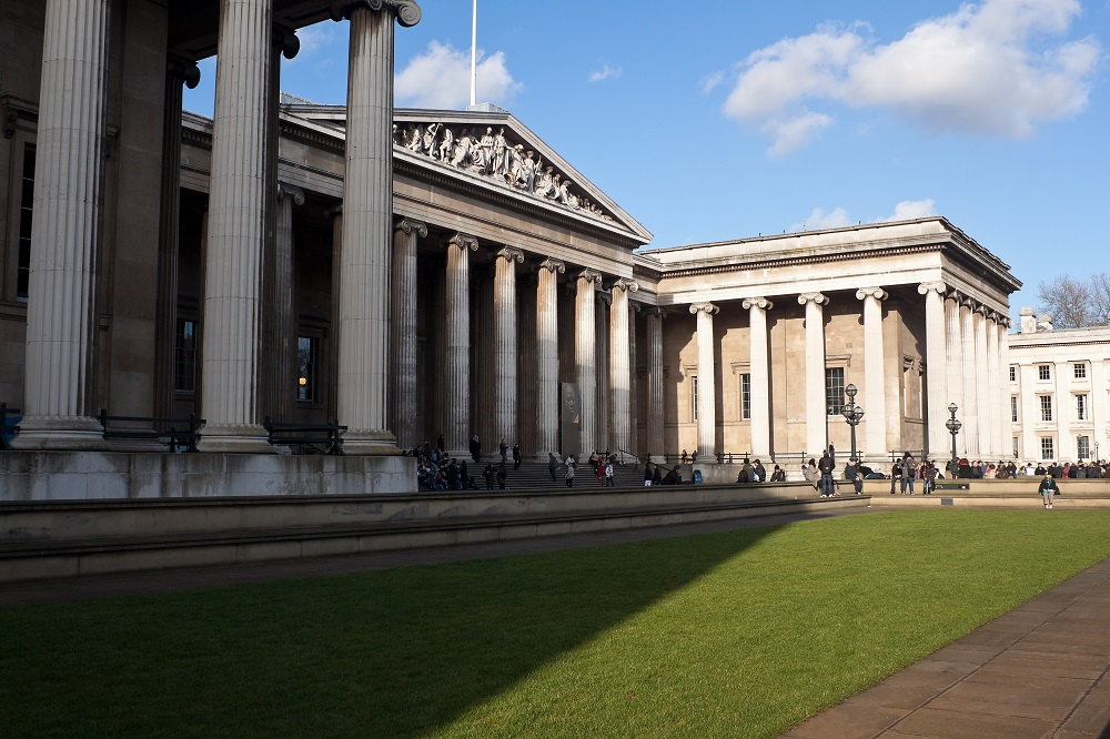 Side view of the main entrance of the British Museum in London