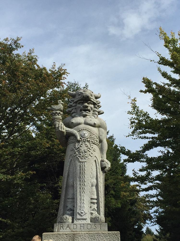 The statue of Radegast, the half-man, half-animal god.