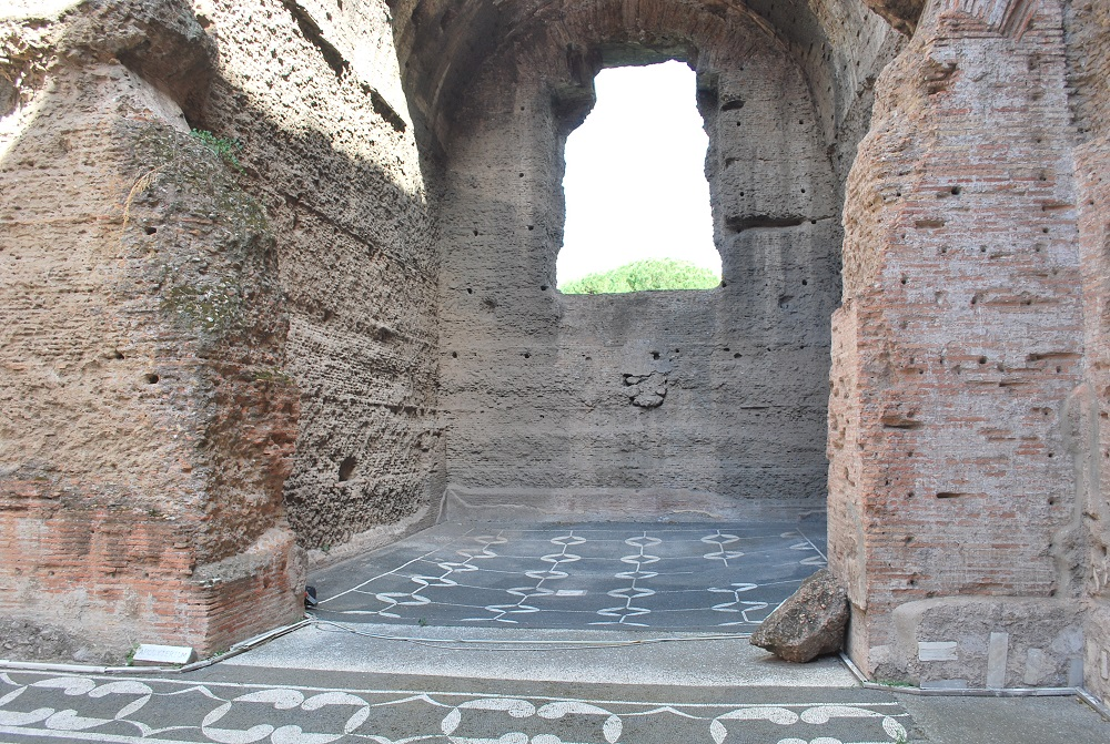 Mosaic floors in the bathing chambers and dressing rooms of the Baths of Caracalla.
