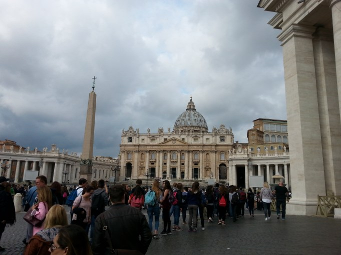 The line for St. Peter's Basilica