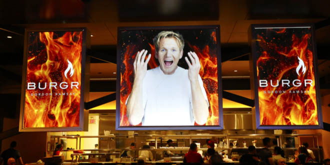 Inside of Gordon Ramsay's BurGR, one of the top celebrity chef restaurants in Las Vegas.