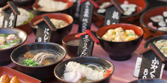 Kyoto cuisines in a traditional food market in Kyoto, Japan.