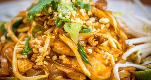 Close-up of a typical dish of pad thai in Bangkok.